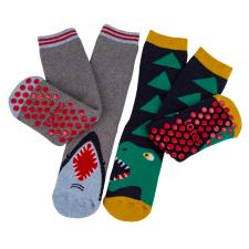 totes Kids Original Novelty Slipper Sock (Twin Pack) Shark/Dino