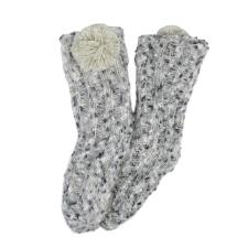 totes Ladies Fluffy Bed Sock with Pom Pom Grey