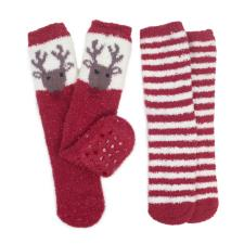 totes Ladies Novelty Twin Pack Supersoft Socks Reindeer