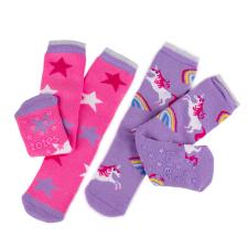 totes Girls Original Slipper Socks Twin Pack Unicorn Print