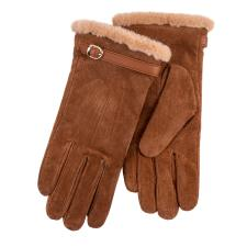 Isotoner Ladies Suede Glove with Faux Fur Cuff Tan
