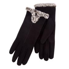 Isotoner Ladies Thermal Glove with Tipped Fur Trim Cuff Black