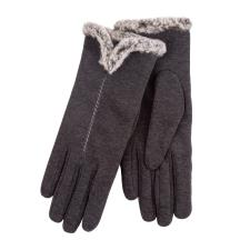 Isotoner Ladies Thermal Glove with Tipped Fur Trim Cuff Grey