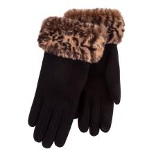 Isotoner Ladies Thermal Glove with Faux Fur Cuff Black / Animal