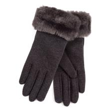 Isotoner Ladies Thermal Glove with Faux Fur Cuff Dark Grey