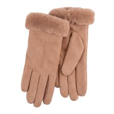 Isotoner Ladies Faux Suede Glove with Faux Fur Cuff Tan