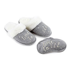 totes Ladies Applique Eyemask & Slipper Set Grey/Silver