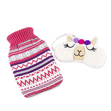 totes Ladies Novelty Hotwater Bottle & Eyemask Set Llama