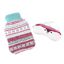 totes Ladies Novelty Hotwater Bottle & Eyemask Set Penguin