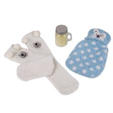totes Ladies Hotwater Bottle, Sock & Candle Set Blue