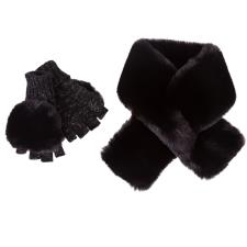 totes Ladies Fur Scarf & Glove Set Black