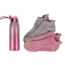 totes Ladies Stainless Steel Bottle & Yoga Socks Set Pink