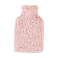 totes Ladies Star Fur Hot Water Bottle Pink