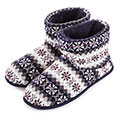 totes Mens Fair Isle Knit Bootie Slippers