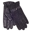 isotoner Mens Knit Back Leather Smartouch Gloves