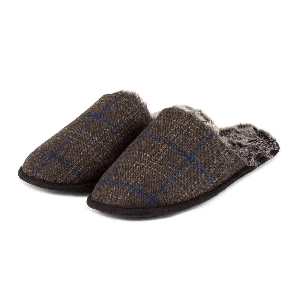 e669323e0027 totes Mens Fur Lined Check Mule Slippers Brown Check