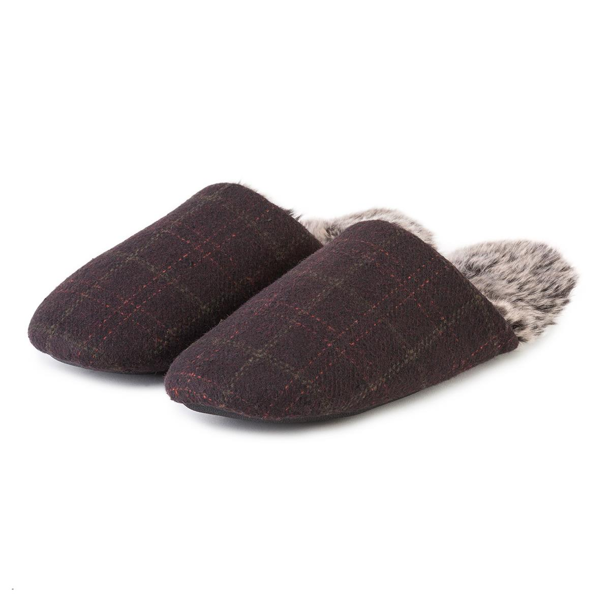 7734257ee1c7 totes Mens Fur Lined Check Mule Slippers Brown
