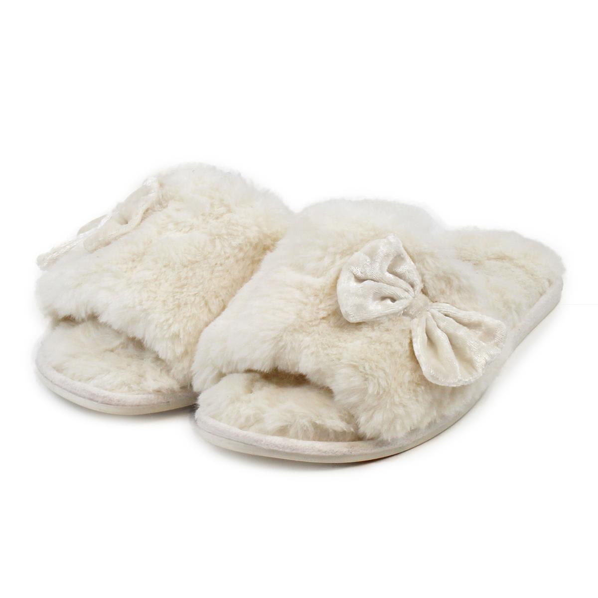 ef040b95f totes Ladies Textured Fur Open Toe Slippers Cream