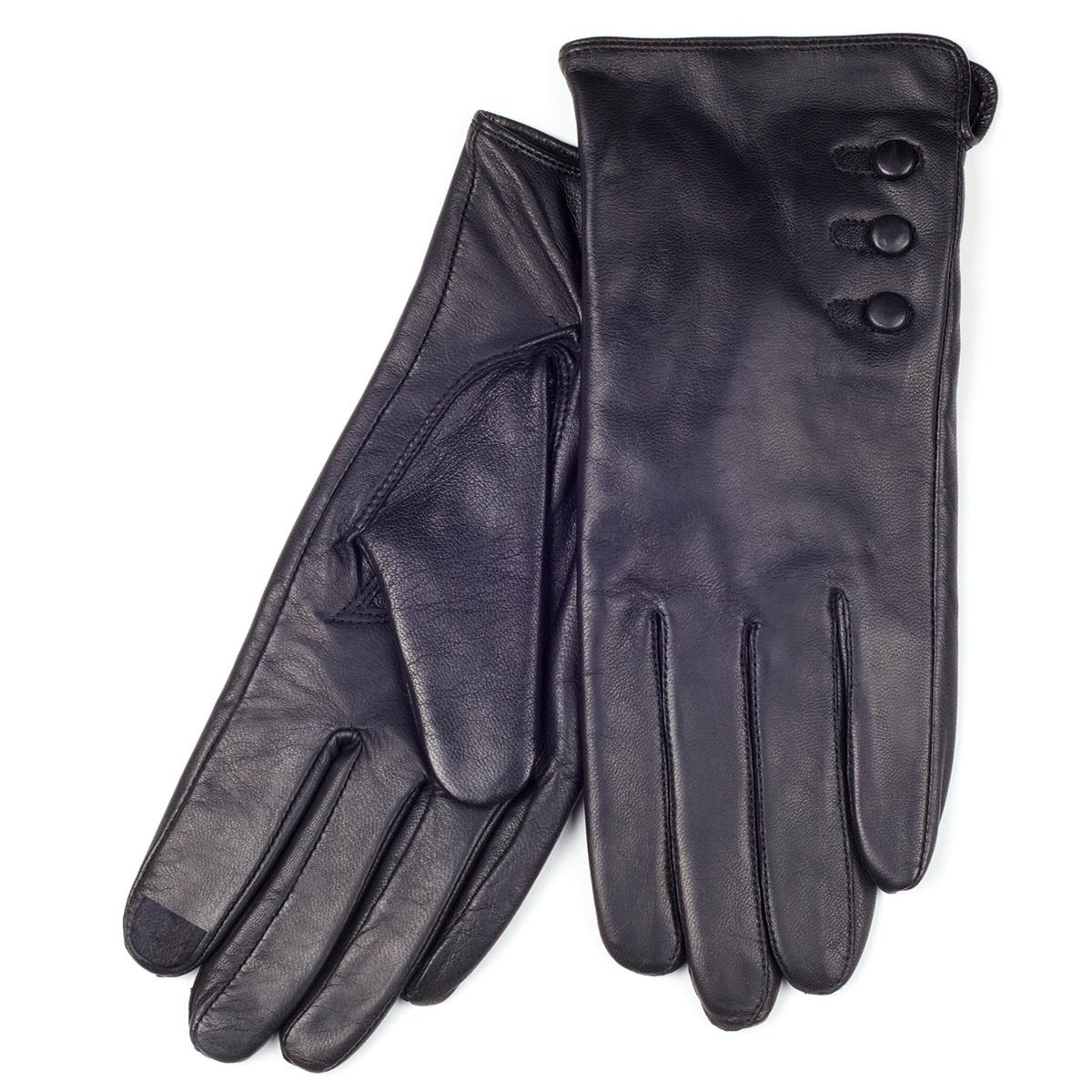 Ladies leather gloves isotoner - Isotoner 3 Button Detail Leather Smartouch Black