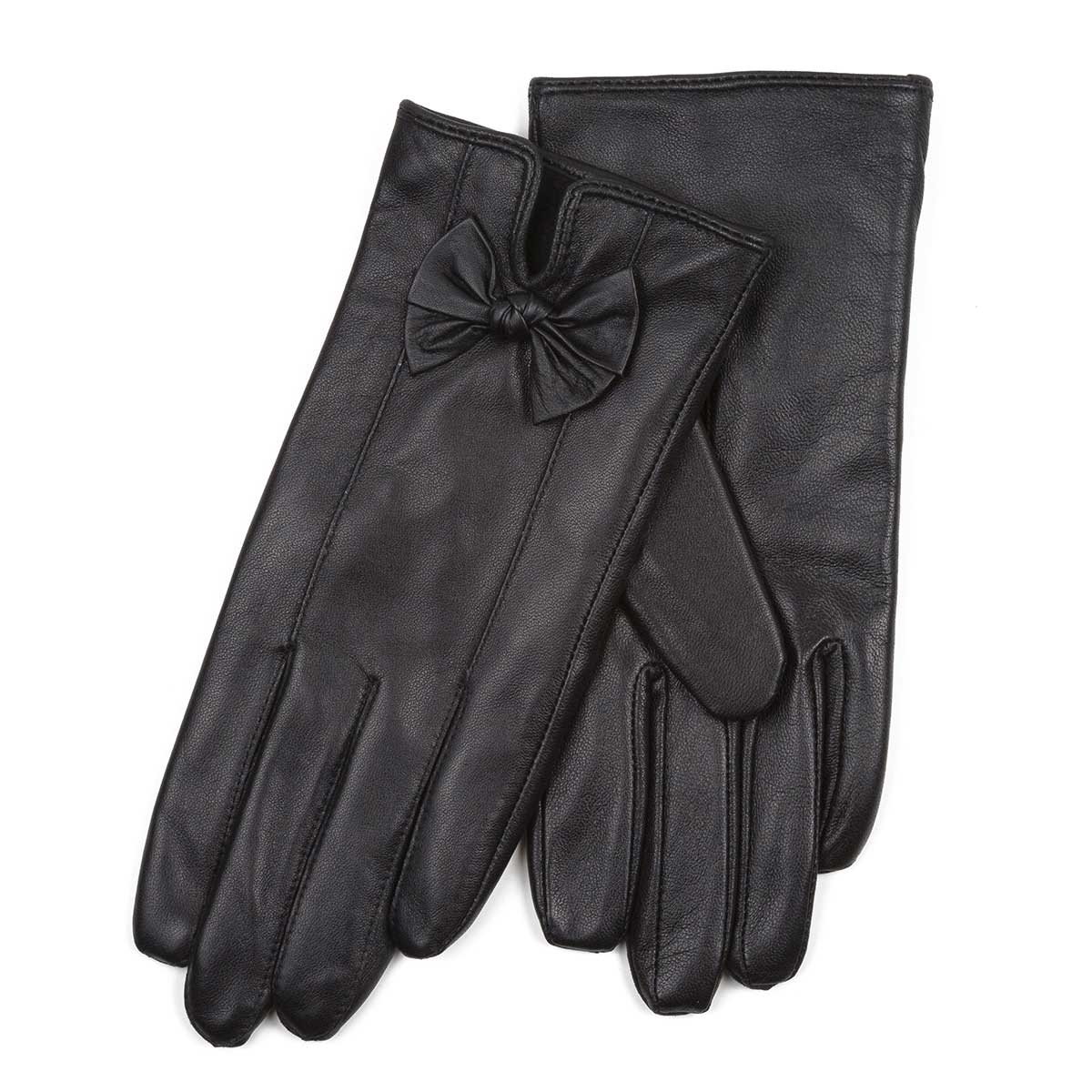 Ladies leather gloves isotoner - Isotoner Ladies Leather Glove With Bows Black