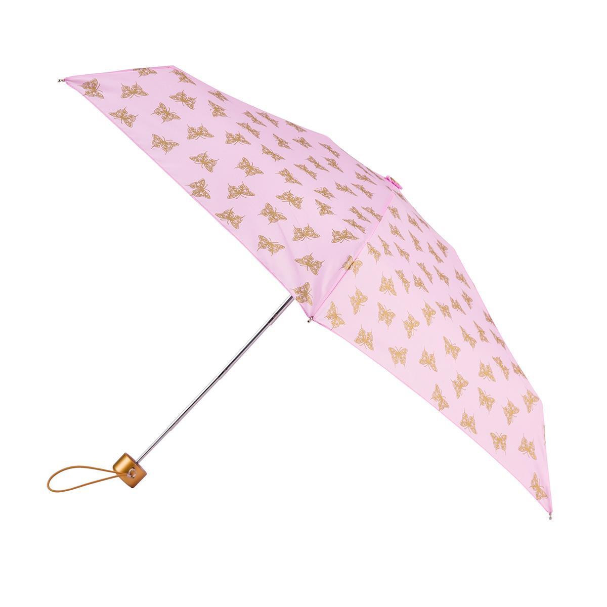totes mini round metallic gold butterfly print umbrella 5 section