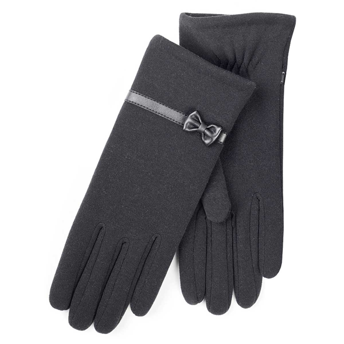 Black gloves with bow - Isotoner Ladies Basic Thermal Pu Gloves With Bow Black