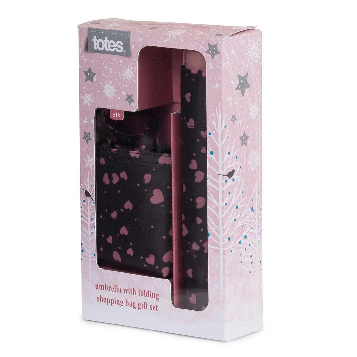 totes Umbrella Gift Set Pink Hearts   totes ISOTONER