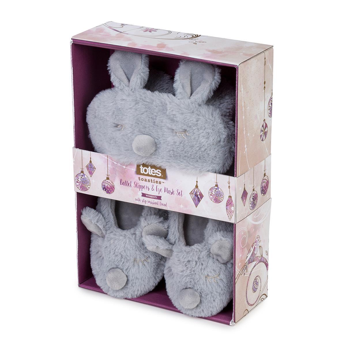 ea82248fc898 totes Ladies Novelty Eyemask   Slipper Set Grey Rabbit