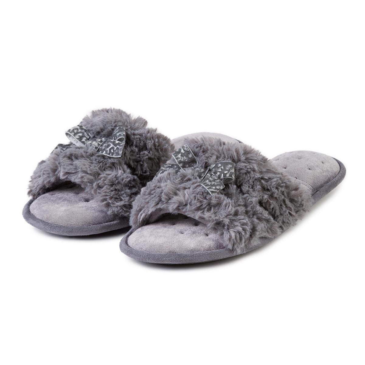 7ca85a5e20fc Isotoner Ladies Fur Sliders Grey