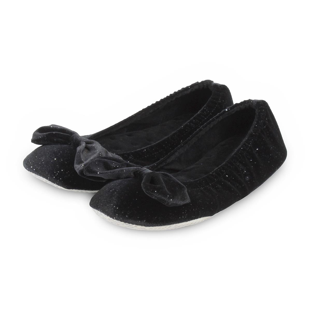 aa70038e3eb Isotoner Ladies Sparkle Velour Big Bow Ballet Slippers Black