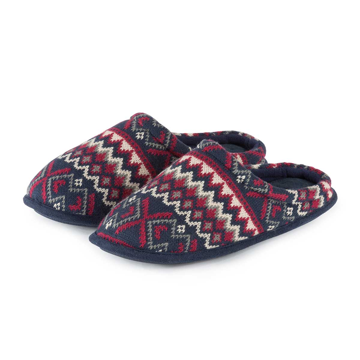 c5dc5e48654e Isotoner Mens Fair Isle Knit Mule Slippers Navy Red