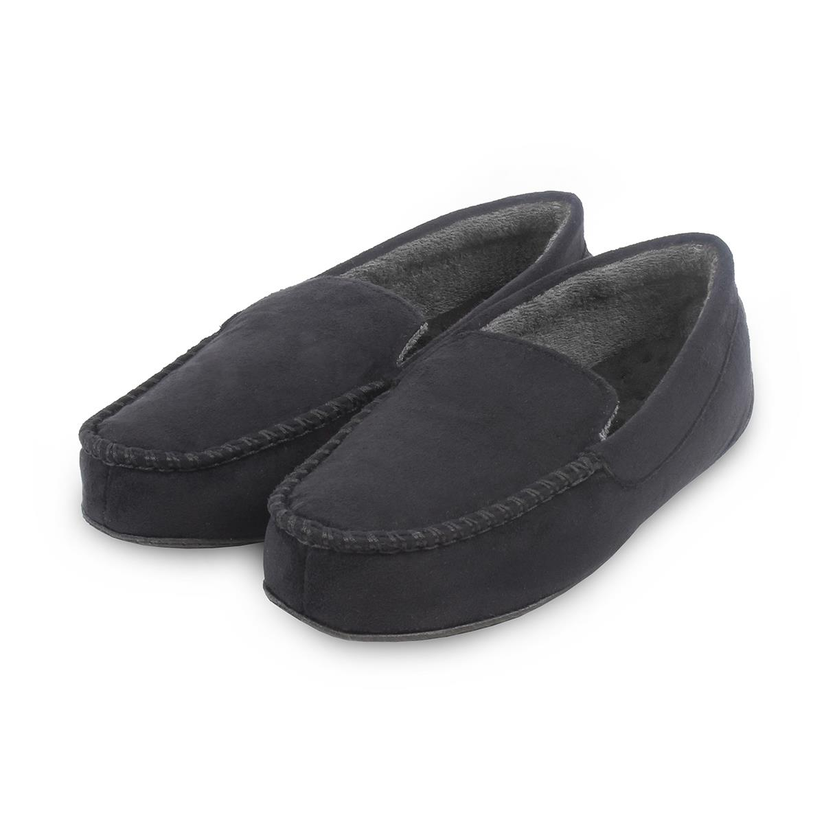 025144887a83 isotoner Mens Pillowstep Driving Moccasin Slippers Black