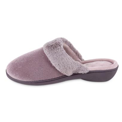 Isotoner Ladies Sparkle Velour Heeled Mule Slippers Mink