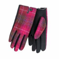 totes Ladies Harris Tweed Stretch Glove Berry