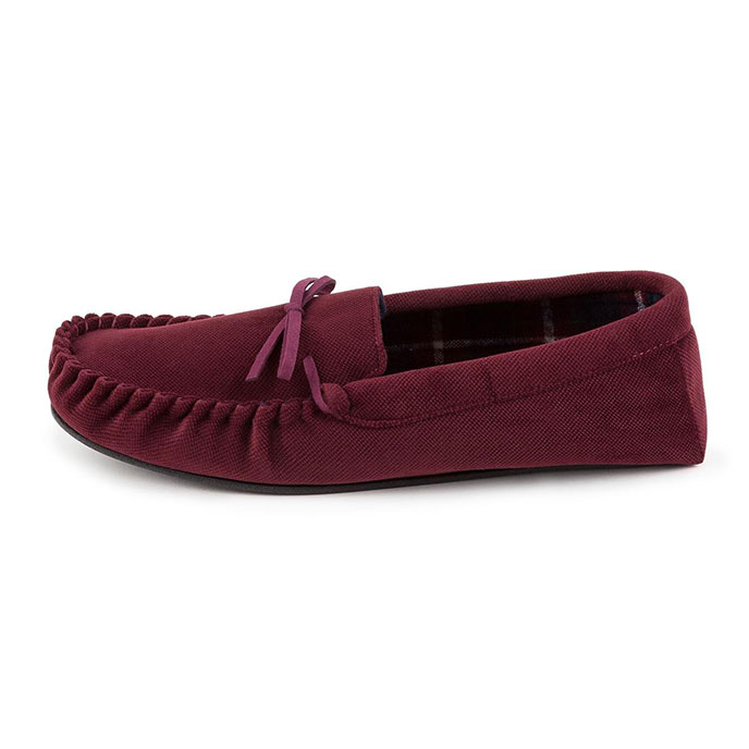 totes Mens Check Lined Cord Moccasin Slippers Burgundy