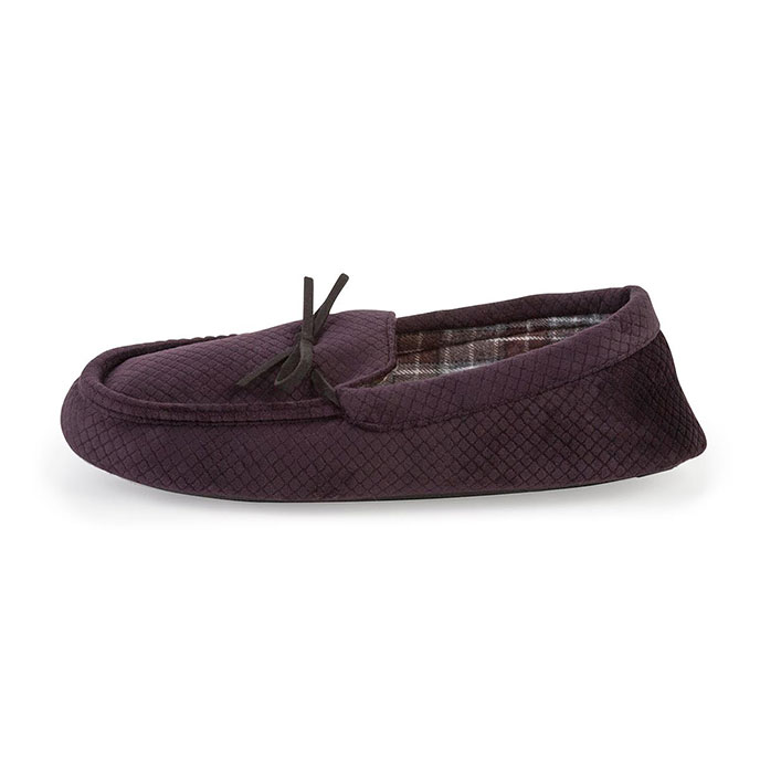 totes Mens Cord Moccasin Slippers Merlot