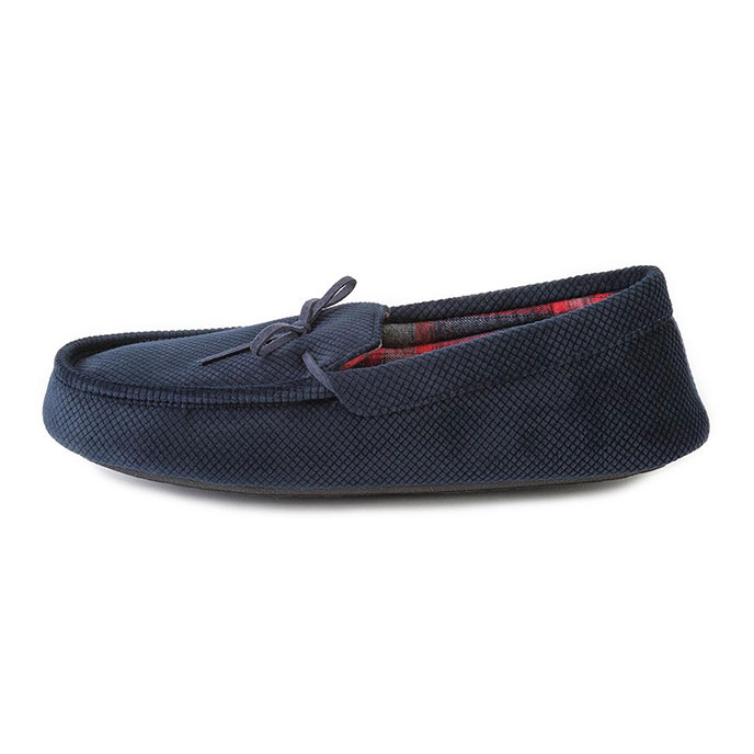 totes Mens Cord Moccasin Slippers Navy