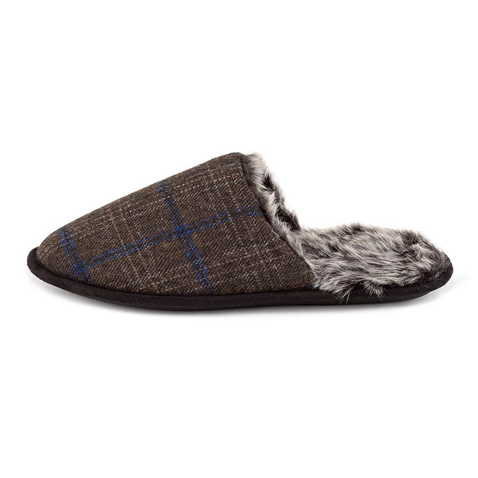 totes Mens Fur Lined Check Mule Slippers Brown Check