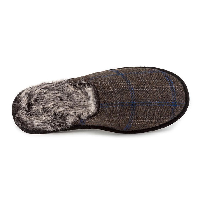 82af304c67f4 totes Mens Fur Lined Check Mule Slippers Brown Check Extra Image 3