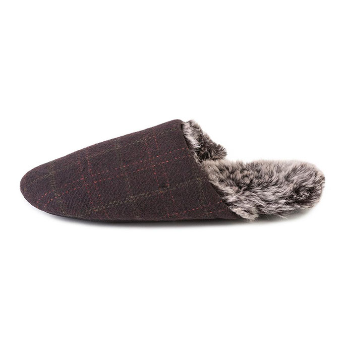 totes Mens Fur Lined Check Mule Slippers  Brown
