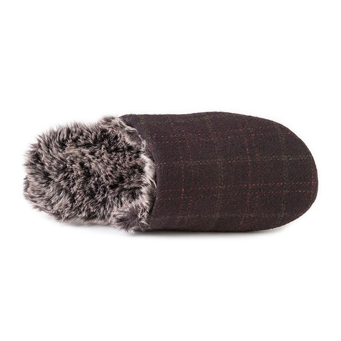 7390b1c29092 totes Mens Fur Lined Check Mule Slippers Brown Extra Image 3