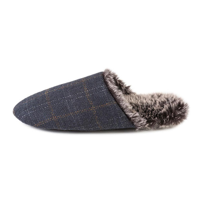 totes Mens Fur Lined Check Mule Slippers  Navy