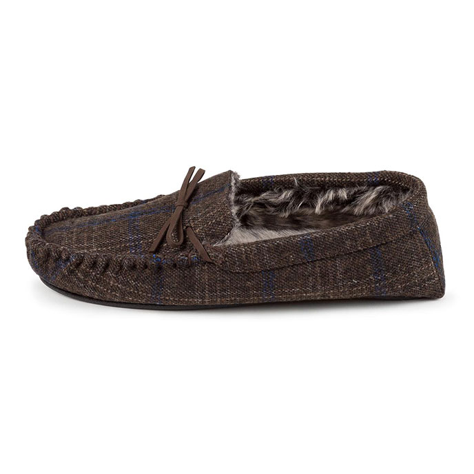 totes Mens Fur Lined Check Moccasin Slippers Brown Check