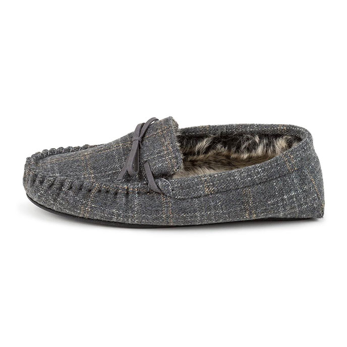 totes Mens Fur Lined Check Moccasin Slippers Grey Check