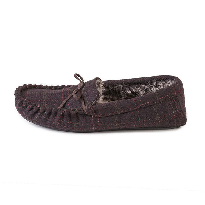 totes Mens Fur Lined Check Moccasin Slippers Brown