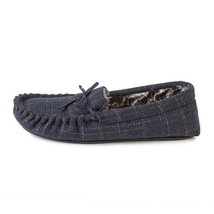 totes Mens Fur Lined Check Moccasin Slippers Navy