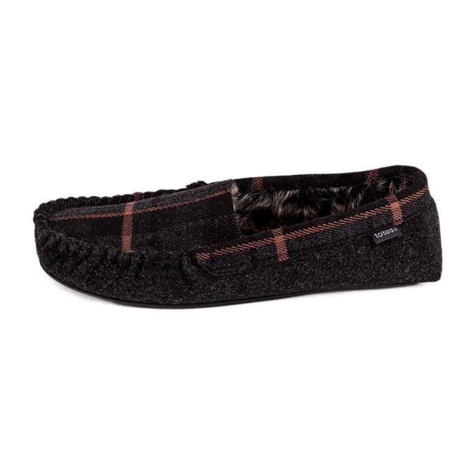 totes Mens Fur Lined Felt Check Moccasin Slippers Grey Check