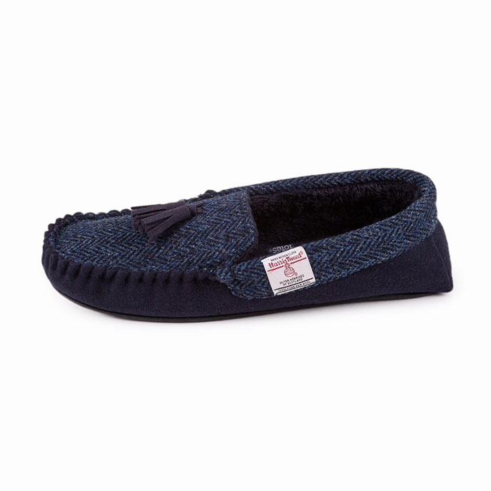 totes Mens Harris Tweed Moccasin Slippers Navy