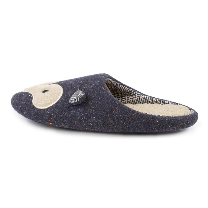 totes Mens Novelty Mule Slippers Navy Fox