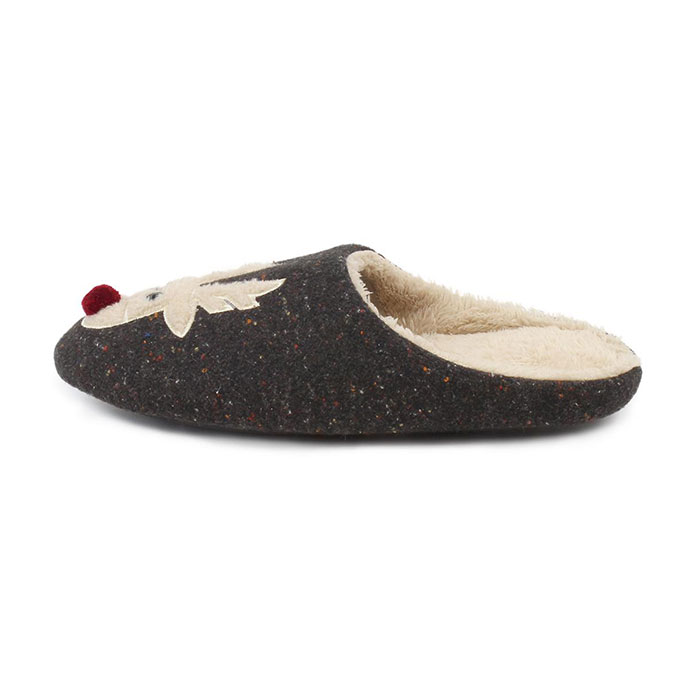 totes Mens Novelty Mule Slippers Grey Reindeer